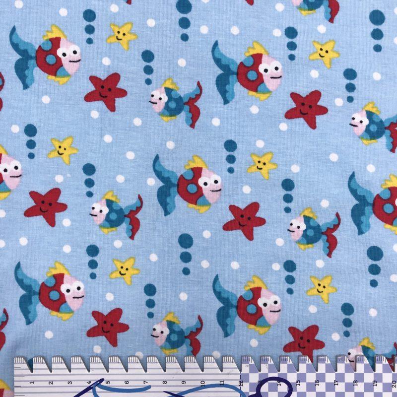 Baumwolljersey Fische auf hellblau