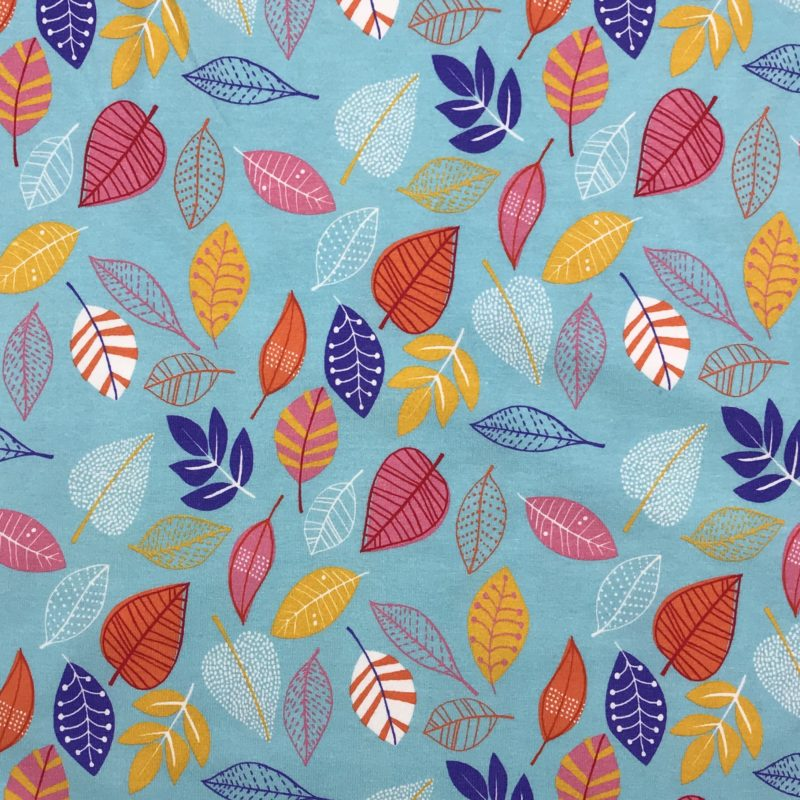Baumwolljersey Blätter mint, orange, rot, blau
