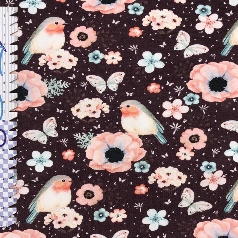 Baumwolljerey Rotkehlchen mit Blumen – Fräulein von Julie