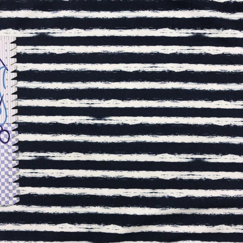 French Terry nachtblaue Streifen auf weiß – Fräulein von Julie